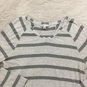 Cabi gray striped long sleeve t shirt
